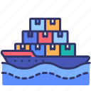 delivery, logistics, order, ship, shipping, transportation, water icon