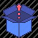 box, carton, logistics, open, picking, shipping icon