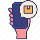 hand, online, order, purchasing, shipping, shop, smartphone icon