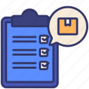 board, checking, delivery, logistics, order, packaging, verify icon