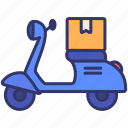 delivery, logistics, motorcycle, order, product, shipping, transportation icon