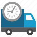 delivery, schedule, shipment, time, timetable, transportation, truck icon