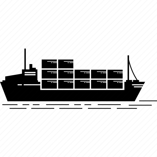 cargo, container, export, goods, import, ship icon