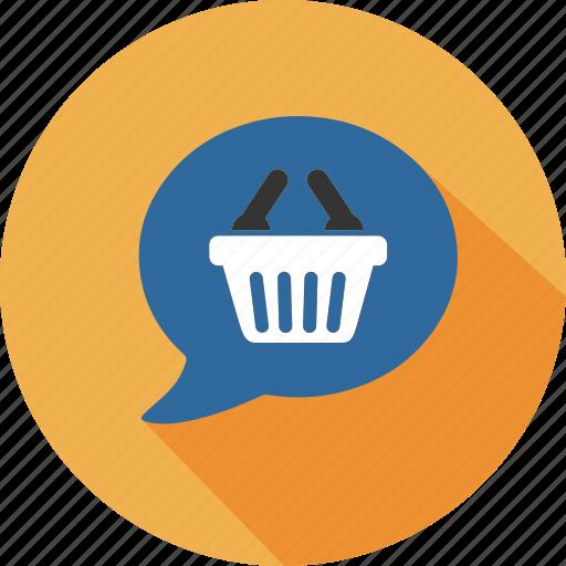 bag, business, commerce, dialog, mall, shopping, speak icon