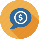business, commerce, dialog, dollar, mall, shopping, speak icon