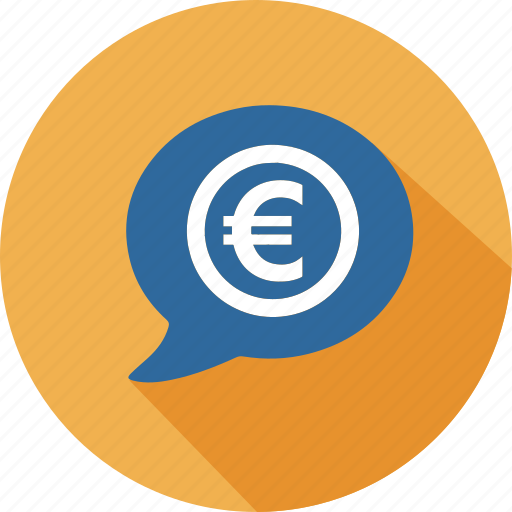 business, commerce, dialog, euro, mall, shopping, speak icon