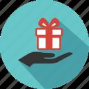 birthday, box, business, gift, giftbox, hand, shopping icon