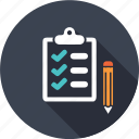 business, chebox, information, list, market, pencil, shopping icon