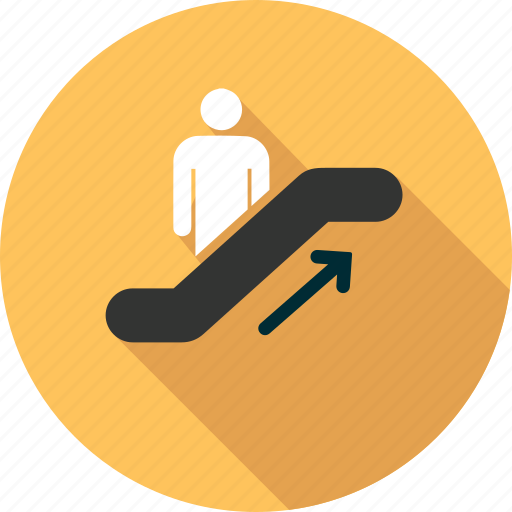 arrow, mall, people, shopping, stair, top, traffic icon