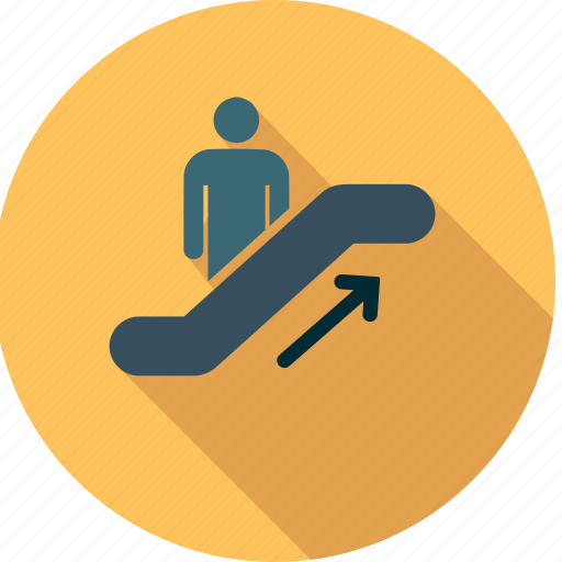 business, mall, people, shopping, stair, traffic, trailer icon