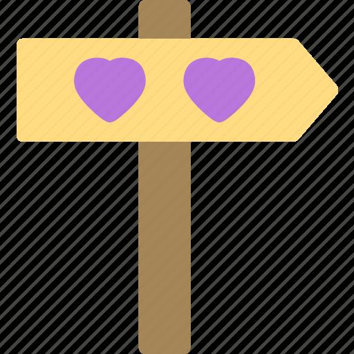 direction, heart, love, romance icon