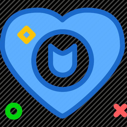 heart, love, romance, shield icon