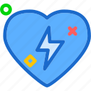 heart, lightingbolt, love, romance icon