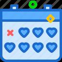 calendar, heart, love, romance