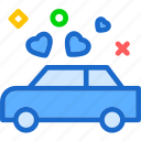 car, heart, love, romance icon