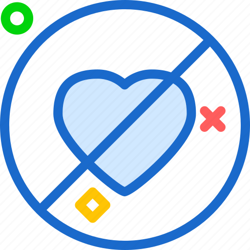 denied, heart, love, romance icon