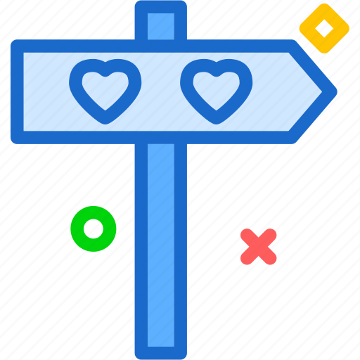 direction, heart, love, romance icon