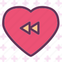 back, heart, love, romance icon