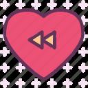 back, heart, love, romance icon