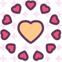 circle, heart, love, romance icon