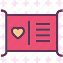 description, heart, love, romance icon