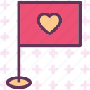 flag, heart, love, romance icon