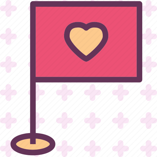 flag, heart, love, romance icon
