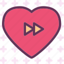 forward, heart, love, romance icon