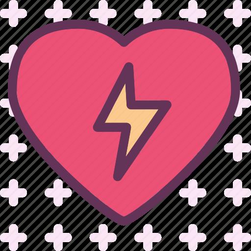 heart, lightingbolt, love, romance icon