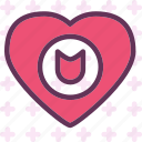 heart, love, romance, shield icon