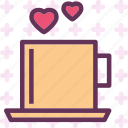 heart, love, romance, teacup icon