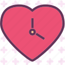 clock, heart, love, romance icon