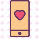 heart, love, phone, romance icon