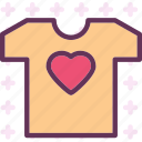 heart, love, romance, tshirt icon