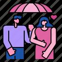 umbrella, romantic, rain, women, love, heart, couple