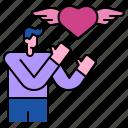 feeling, wing, romantic, valentine, love, heart, man