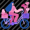 romantic, bicycle, heart, valentine, romance, women, love