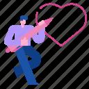 romantic, heart, valentine, feeling, draw, love, man