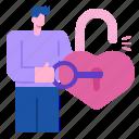 heart, unlock, key, romance, security, love, secure