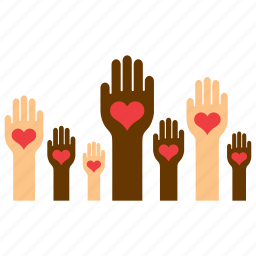 equality, hand, heart, love, racism, solidarity, tolerance icon
