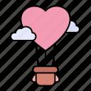 love, hot, air, balloon, transportation, heart
