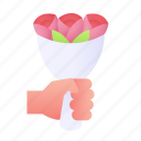 bouquet, flowers, roses, nature icon