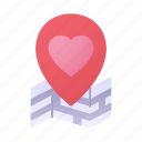 location, heart, love, maps