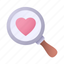 magnifying, glass, find, love, heart
