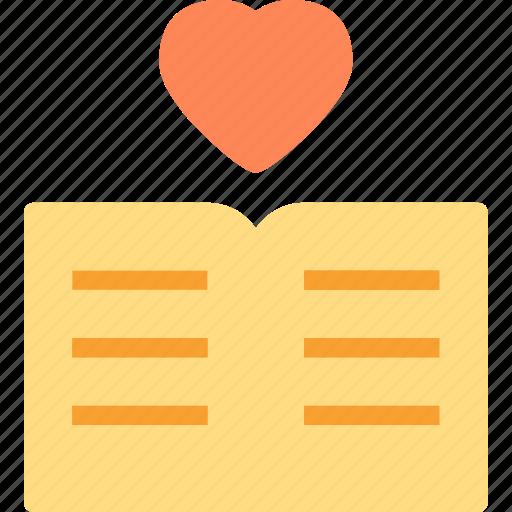 book, heart, love, romance icon