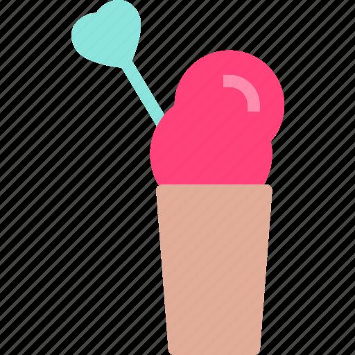heart, icecreamcup, love, romance icon