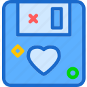 floppydisk, heart, love, romance icon