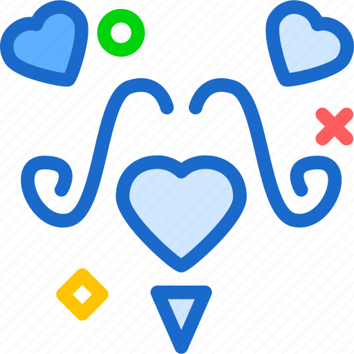heart, love, mustache, romance icon