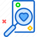 heart, love, romance, search icon