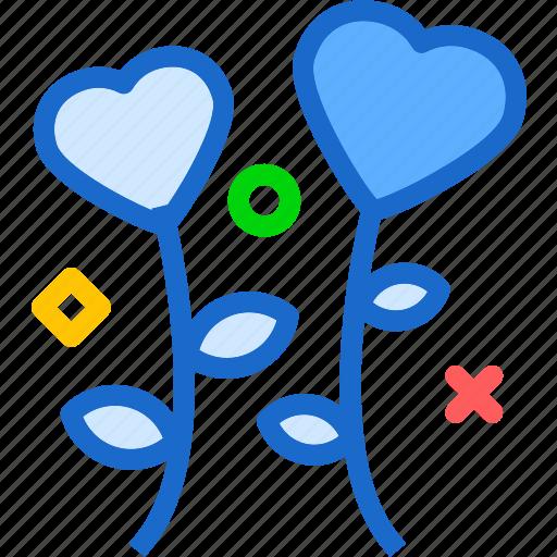 flower, heart, love, romance icon